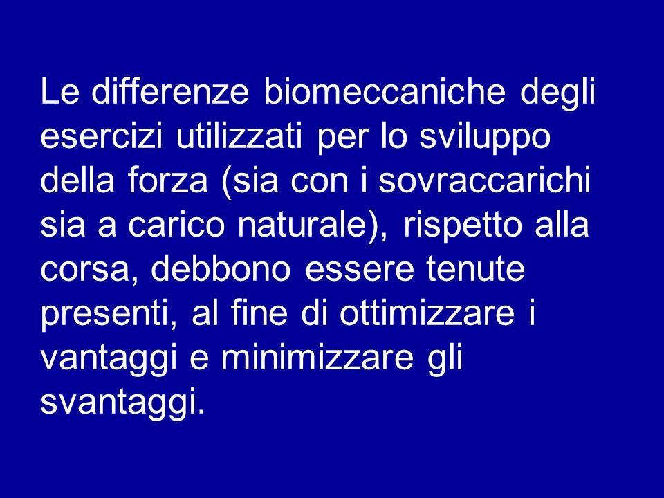 Le differenze biomeccaniche degli esercizi utilizzati per lo sviluppo della forza (sia con i sovraccarichi sia a carico naturale), rispetto alla corsa