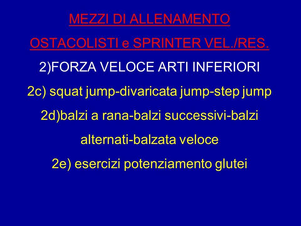 MEZZI DI ALLENAMENTO OSTACOLISTI e SPRINTER VEL./RES. 2)FORZA VELOCE ARTI INFERIORI 2c) squat jump-divaricata jump-step jump 2d)balzi a rana-balzi suc