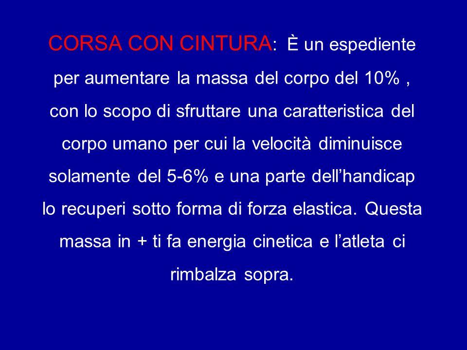 CORSA CON CINTURA : È un espediente per aumentare la massa del corpo del 10%, con lo scopo di sfruttare una caratteristica del corpo umano per cui la