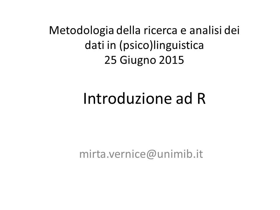 str() Per avere informazioni sulla natura di un oggetto creato in R.