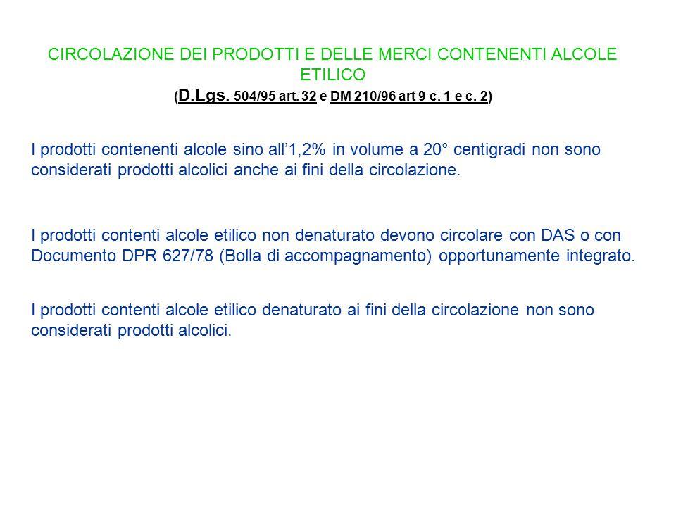CIRCOLAZIONE DEI PRODOTTI E DELLE MERCI CONTENENTI ALCOLE ETILICO ( D.Lgs. 504/95 art. 32 e DM 210/96 art 9 c. 1 e c. 2) D.Lgs. 504/95 art. 32DM 210/9