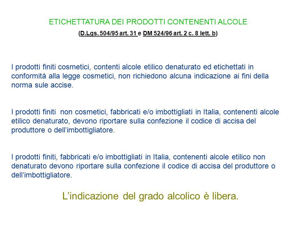 ETICHETTATURA DEI PRODOTTI CONTENENTI ALCOLE (D.Lgs. 504/95 art. 31 e DM 524/96 art. 2 c. 8 lett. b)D.Lgs. 504/95 art. 31 DM 524/96 art. 2 c. 8 lett.