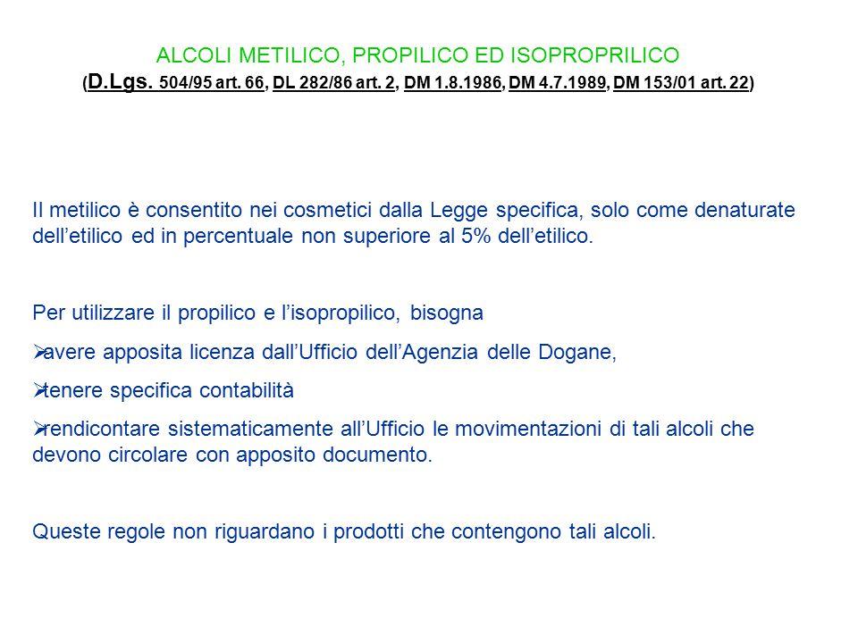 ALCOLI METILICO, PROPILICO ED ISOPROPRILICO ( D.Lgs. 504/95 art. 66, DL 282/86 art. 2, DM 1.8.1986, DM 4.7.1989, DM 153/01 art. 22) D.Lgs. 504/95 art.