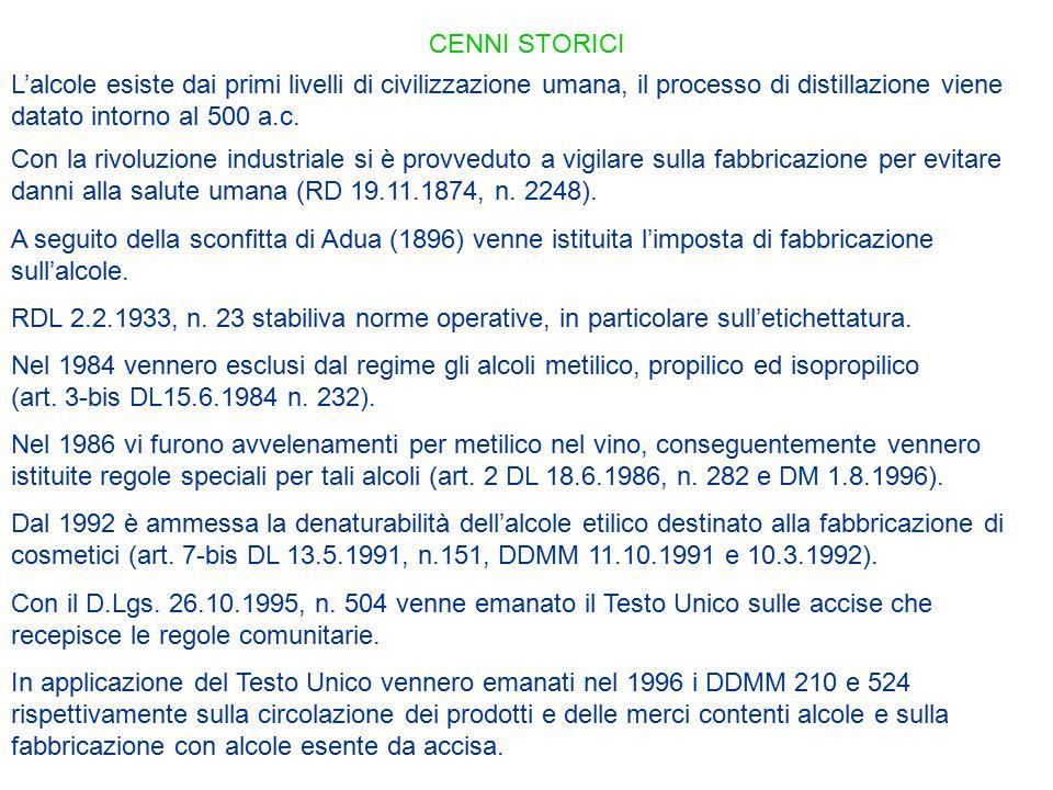 CENNI STORICI In applicazione del Testo Unico vennero emanati nel 1996 i DDMM 210 e 524 rispettivamente sulla circolazione dei prodotti e delle merci