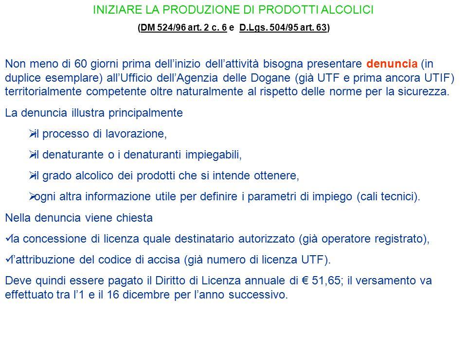 INIZIARE LA PRODUZIONE DI PRODOTTI ALCOLICI (DM 524/96 art. 2 c. 6 e D.Lgs. 504/95 art. 63)DM 524/96 art. 2 c. 6D.Lgs. 504/95 art. 63 Non meno di 60 g