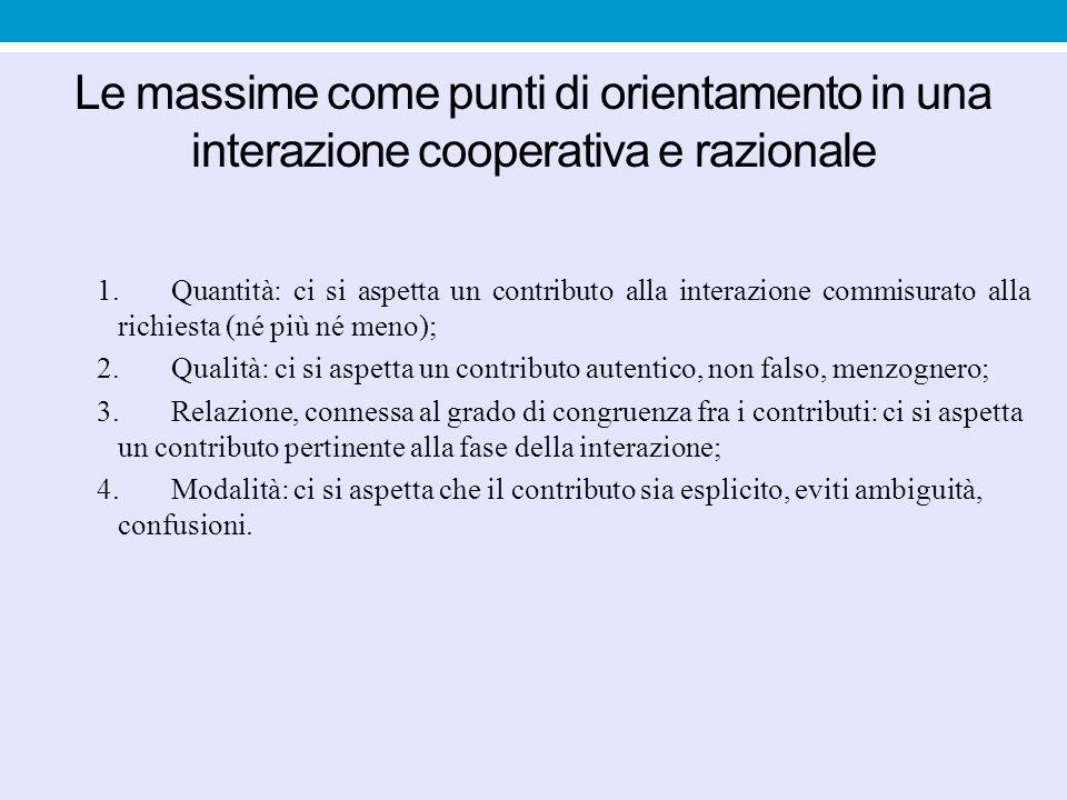 Possibili violazioni delle massime Non esplicita (intenzione di ingannare) Uscita esplicita dal raggio di azione della massima e del principio di cooperazione (es.