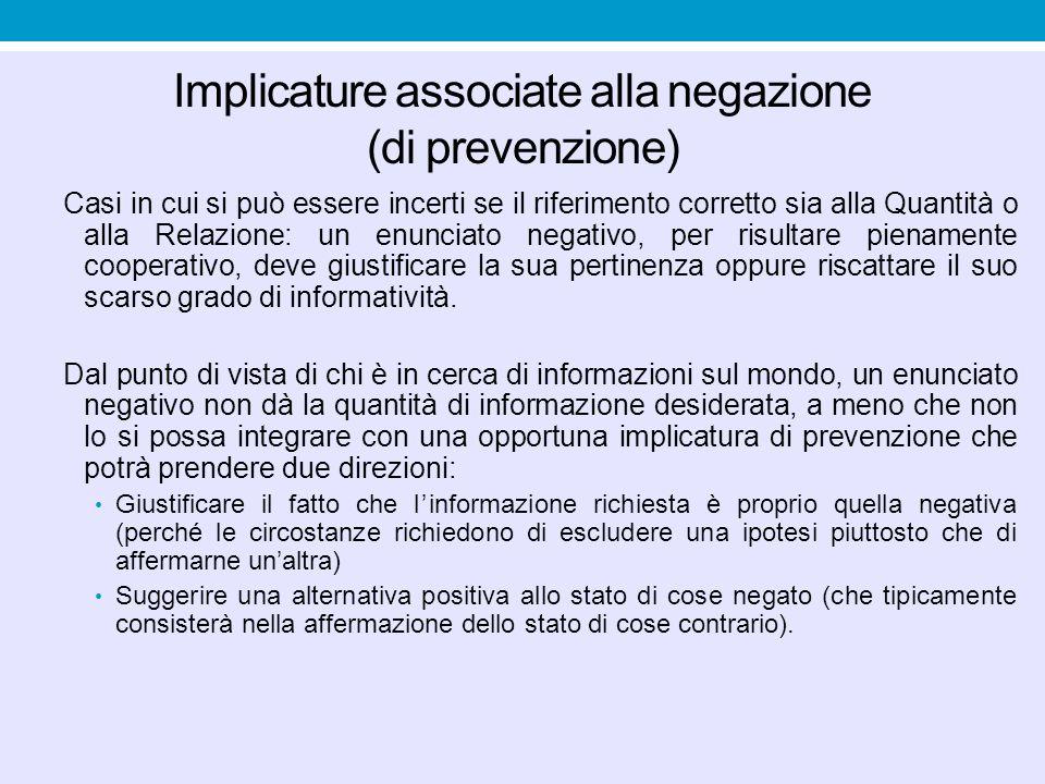Interpretazione alla luce della massima della Relazione: l'enunciato negativo comunica implicitamente che l'ipotesi negata deve essere in qualche modo saliente e suggerisce anche perché (per esempio, perché qualcuno l'ha avanzata).