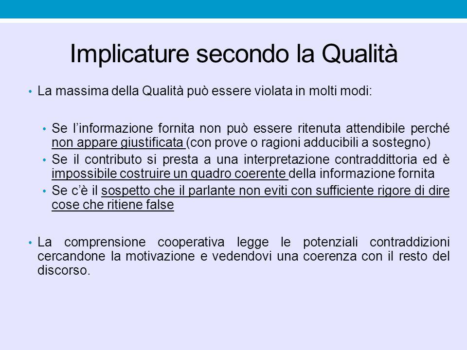 Delegare una enunciazione a un'altra fonte enunciativa implica una violazione della massima della Qualità (che attiva implicature di prevenzione).