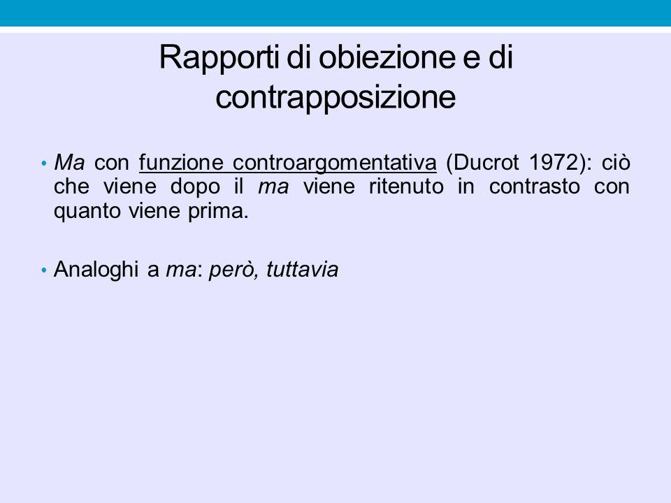 Rapporti di obiezione e di contrapposizione Ma con funzione controargomentativa (Ducrot 1972): ciò che viene dopo il ma viene ritenuto in contrasto co