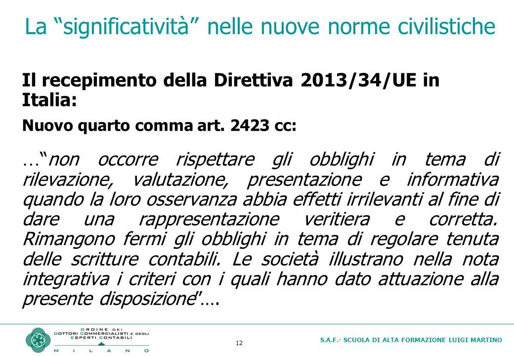 S.A.F.- SCUOLA DI ALTA FORMAZIONE LUIGI MARTINO 12 La significatività nelle nuove norme civilistiche Il recepimento della Direttiva 2013/34/UE in Italia: Nuovo quarto comma art.