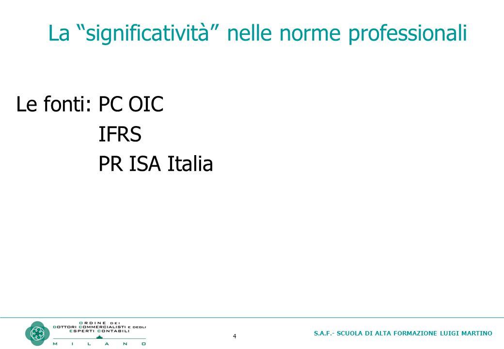 S.A.F.- SCUOLA DI ALTA FORMAZIONE LUIGI MARTINO 4 La significatività nelle norme professionali Le fonti:PC OIC IFRS PR ISA Italia