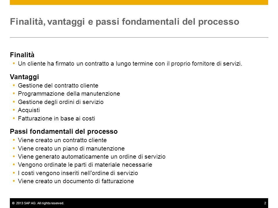 ©2013 SAP AG. All rights reserved.2 Finalità, vantaggi e passi fondamentali del processo Finalità  Un cliente ha firmato un contratto a lungo termine
