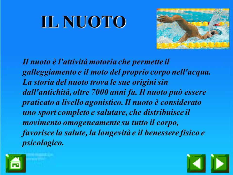 IL NUOTO Il nuoto è l'attività motoria che permette il galleggiamento e il moto del proprio corpo nell'acqua. La storia del nuoto trova le sue origini