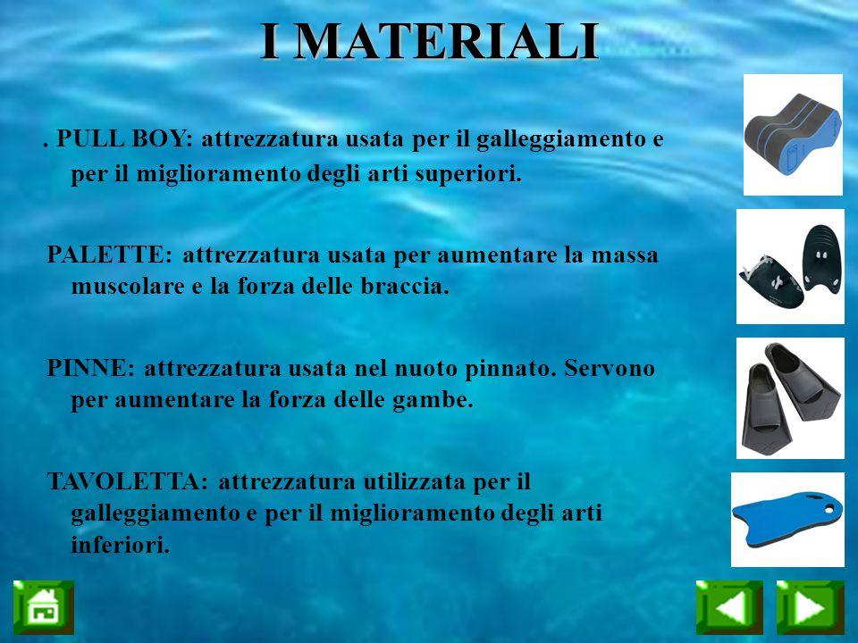 . PULL BOY: attrezzatura usata per il galleggiamento e per il miglioramento degli arti superiori. PALETTE: attrezzatura usata per aumentare la massa m