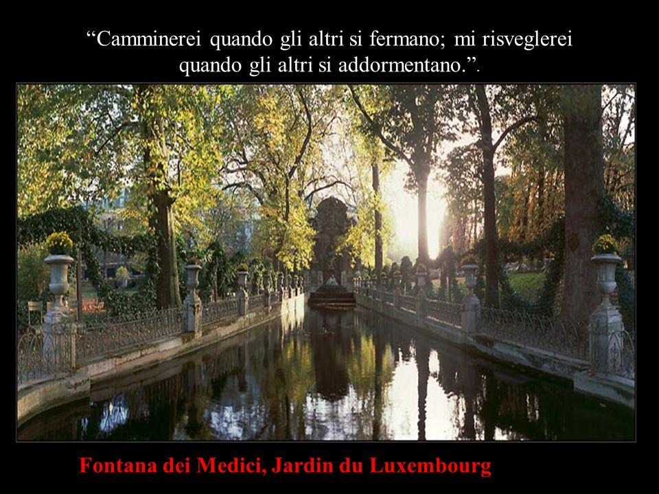 Fontana dei Medici, Jardin du Luxembourg Camminerei quando gli altri si fermano; mi risveglerei quando gli altri si addormentano. .