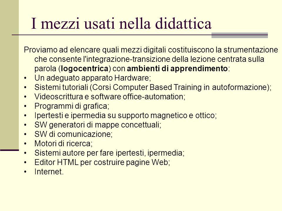 I mezzi usati nella didattica Proviamo ad elencare quali mezzi digitali costituiscono la strumentazione che consente l'integrazione-transizione della