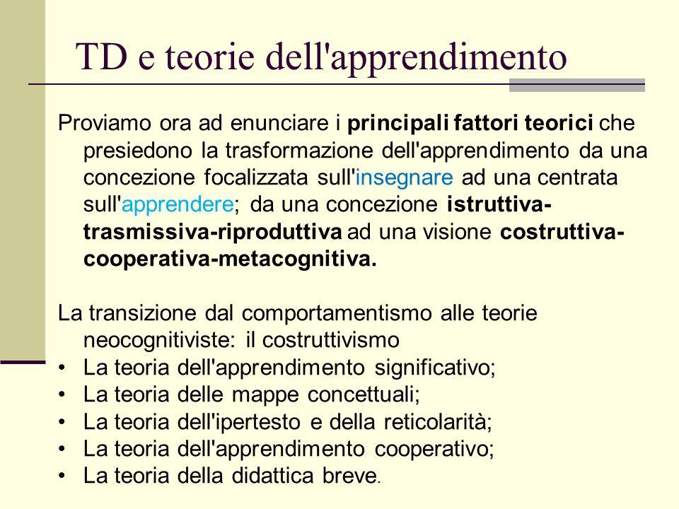 TD e teorie dell'apprendimento Proviamo ora ad enunciare i principali fattori teorici che presiedono la trasformazione dell'apprendimento da una conce