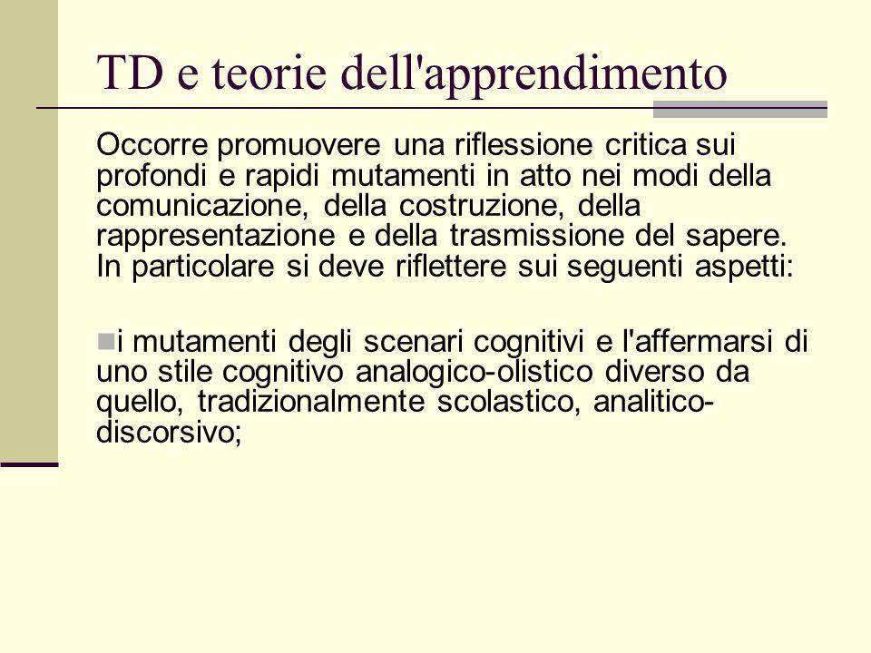 TD e teorie dell'apprendimento Occorre promuovere una riflessione critica sui profondi e rapidi mutamenti in atto nei modi della comunicazione, della