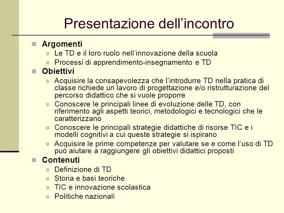 Presentazione dell'incontro Argomenti Le TD e il loro ruolo nell'innovazione della scuola Processi di apprendimento-insegnamento e TD Obiettivi Acquis