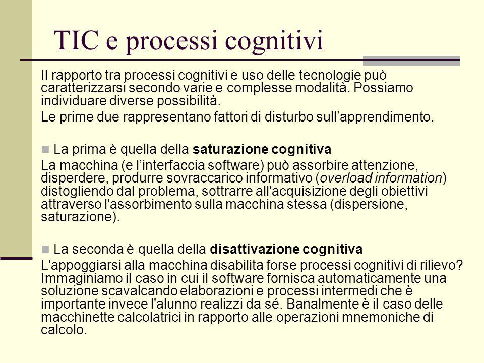 TIC e processi cognitivi Il rapporto tra processi cognitivi e uso delle tecnologie può caratterizzarsi secondo varie e complesse modalità. Possiamo in