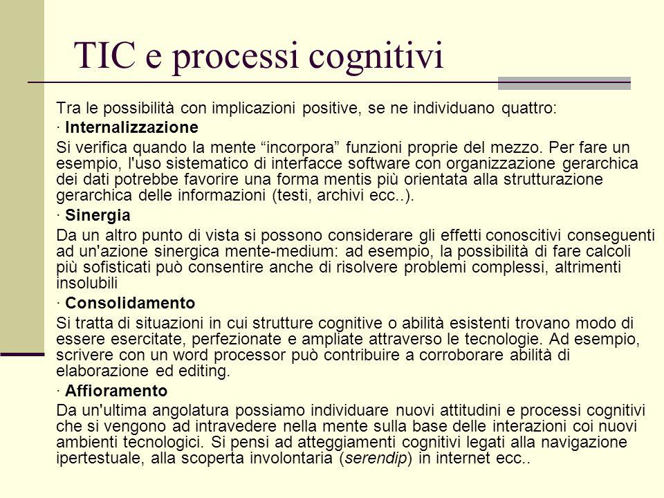 """TIC e processi cognitivi Tra le possibilità con implicazioni positive, se ne individuano quattro: · Internalizzazione Si verifica quando la mente """"inc"""