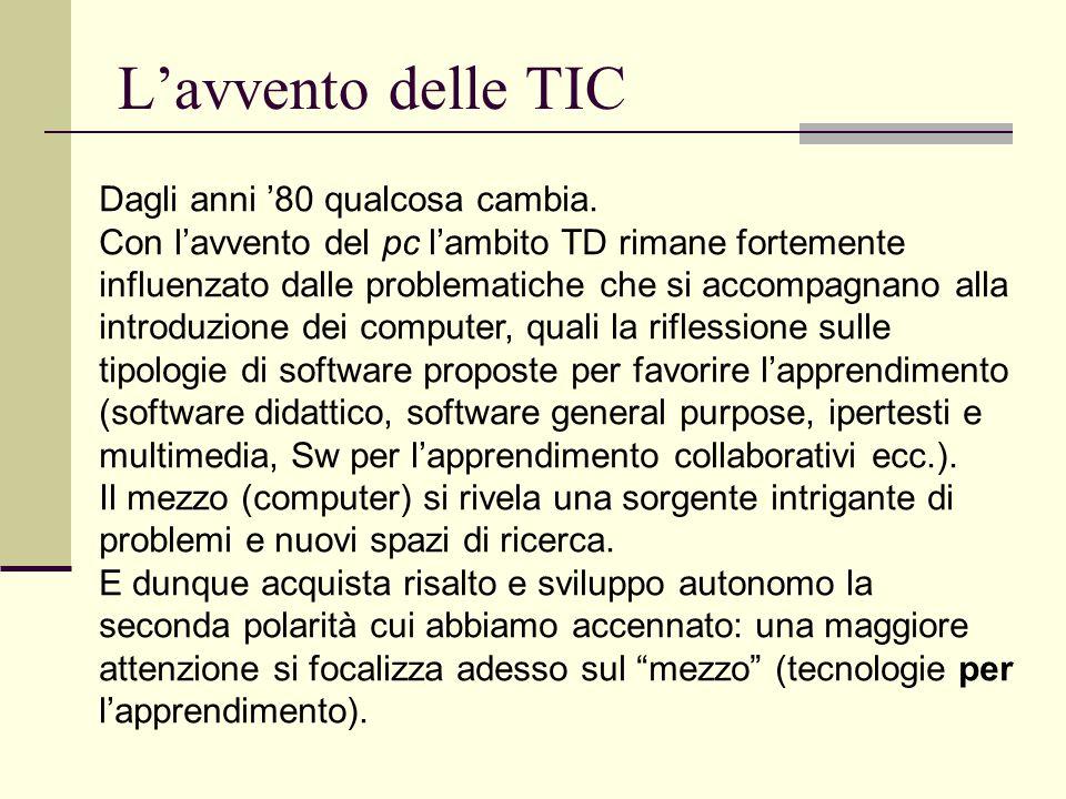 Tic nella scuola In questo quadro si sviluppano, in particolare dagli anni '80, nuovi ambiti di interesse relativi all'uso delle TIC nella scuola.