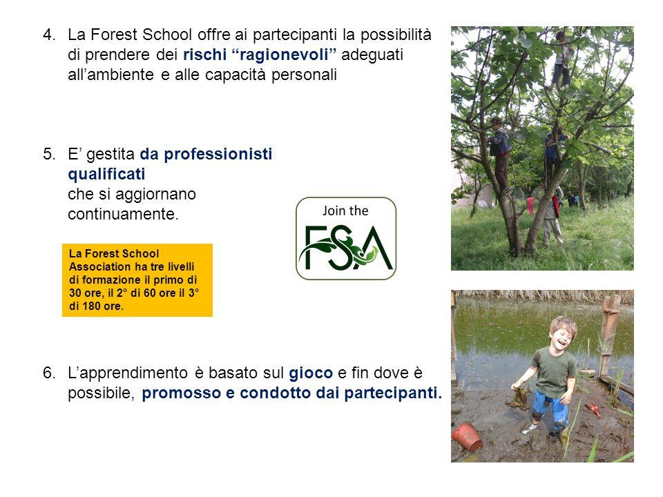 """4. 4.La Forest School offre ai partecipanti la possibilità di prendere dei rischi """"ragionevoli"""" adeguati all'ambiente e alle capacità personali 5. 5.E"""