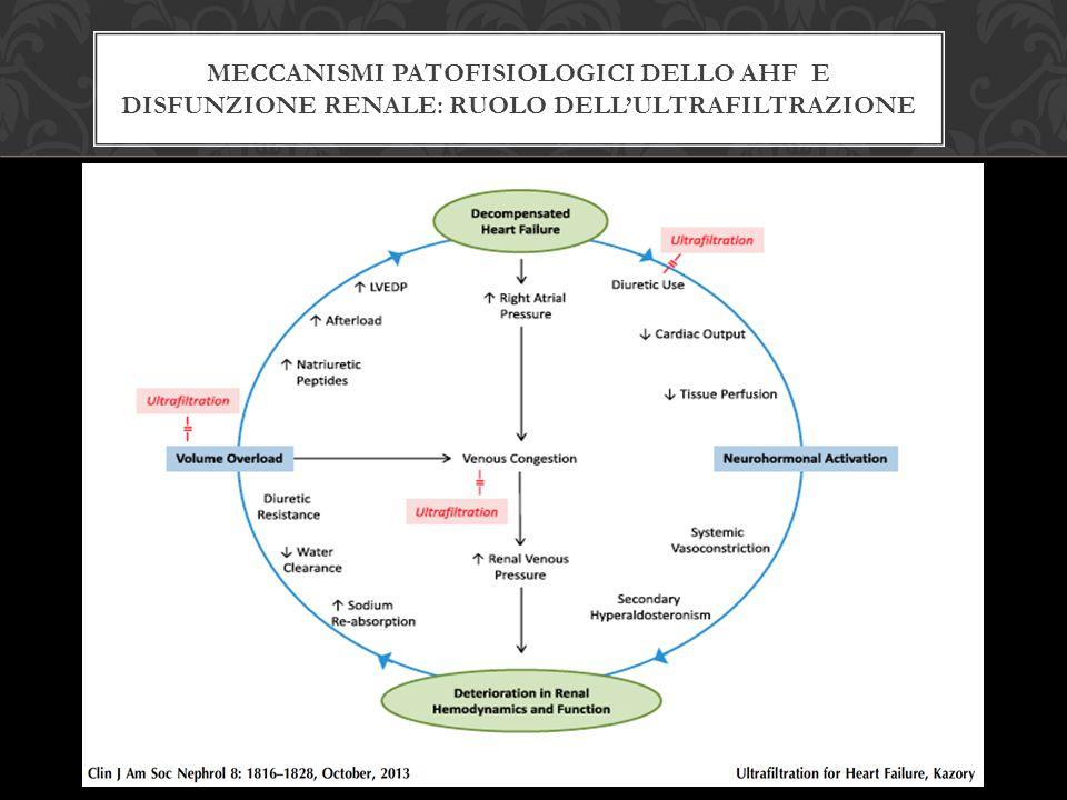 POSSIBILI CONTROINDICAZIONI ALLA ULTRAFILTRAZIONE ISOLATA IN SOGGETTI CON HF  Pazienti responsivi alla terapia diuretica  Inadeguato accesso venoso  Ipotensione  Stati di Ipercoagulabilità  Malattia renale cronica allo stadio finale > indicazione a dialisi