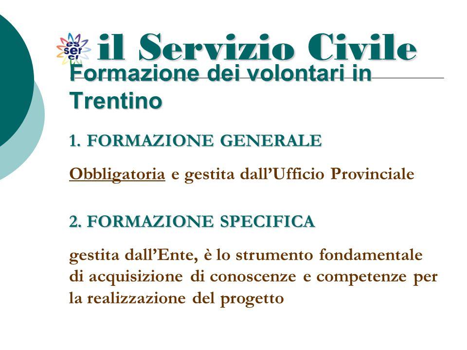 il Servizio Civile Formazione dei volontari in Trentino 1.F ORMAZIONE GENERALE Obbligatoria e gestita dall'Ufficio Provinciale 2. FORMAZIONE SPECIFICA