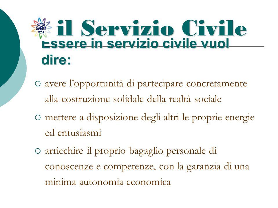 Essere in servizio civile vuol dire: il Servizio Civile  avere l'opportunità di partecipare concretamente alla costruzione solidale della realtà soci