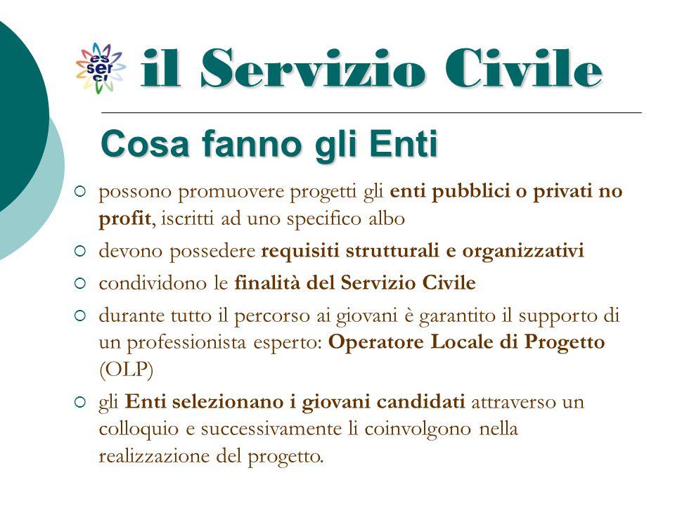 Cosa fanno gli Enti il Servizio Civile  possono promuovere progetti gli enti pubblici o privati no profit, iscritti ad uno specifico albo  devono po