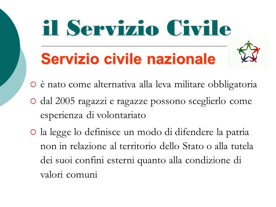 il Servizio Civile Servizio civile nazionale  è nato come alternativa alla leva militare obbligatoria  dal 2005 ragazzi e ragazze possono sceglierlo