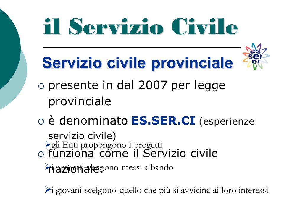 il Servizio Civile Servizio civile provinciale ppresente in dal 2007 per legge provinciale èè denominato ES.SER.CI (esperienze servizio civile) f