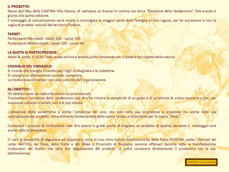 """IL PROGETTO: Nasce dall'idea della CANTINA Villa Gianna, di realizzare un Evento in cantina con tema """"Emozione della Vendemmia"""". Tale evento è giunto"""