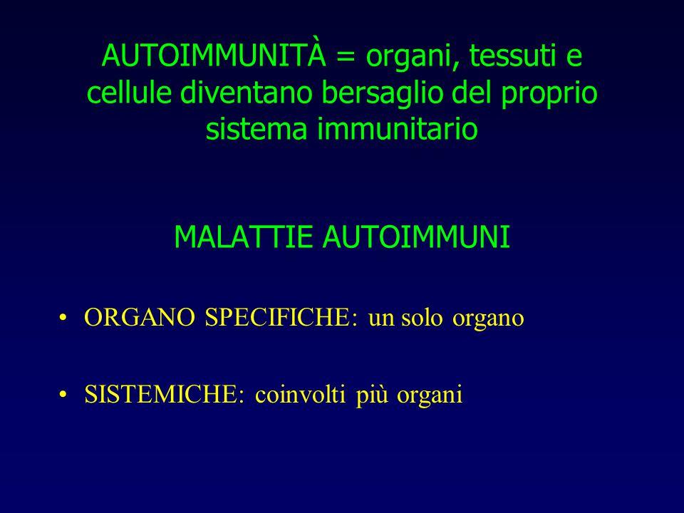 AUTOIMMUNITÀ = organi, tessuti e cellule diventano bersaglio del proprio sistema immunitario MALATTIE AUTOIMMUNI ORGANO SPECIFICHE: un solo organo SISTEMICHE: coinvolti più organi