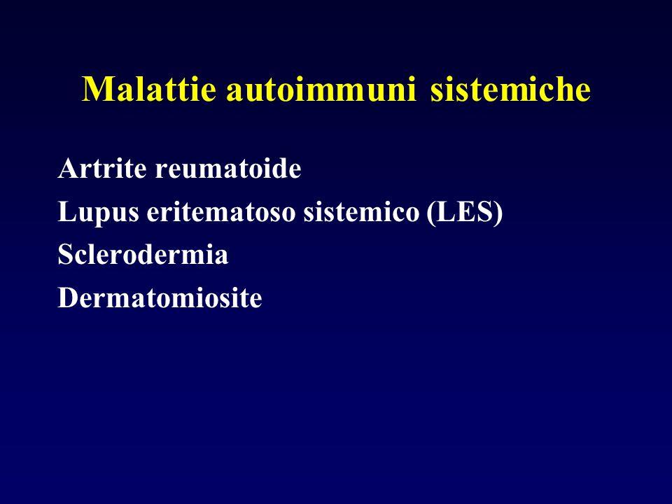 Malattie autoimmuni sistemiche Artrite reumatoide Lupus eritematoso sistemico (LES) Sclerodermia Dermatomiosite
