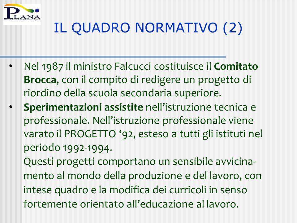 Nel 1987 il ministro Falcucci costituisce il Comitato Brocca, con il compito di redigere un progetto di riordino della scuola secondaria superiore. Sp