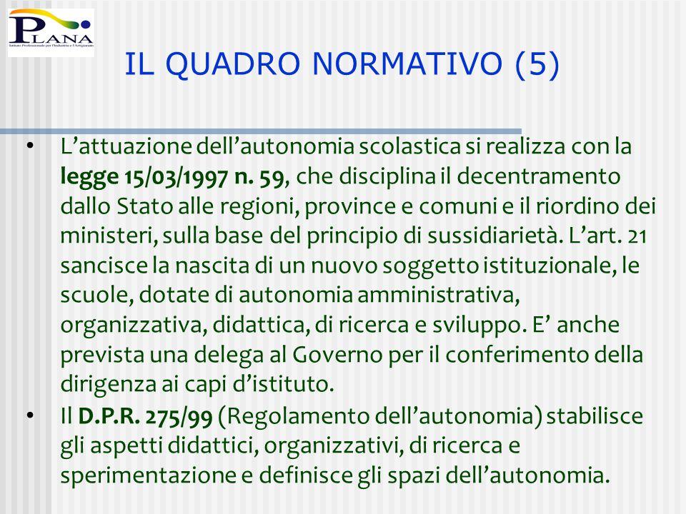 L'attuazione dell'autonomia scolastica si realizza con la legge 15/03/1997 n. 59, che disciplina il decentramento dallo Stato alle regioni, province e