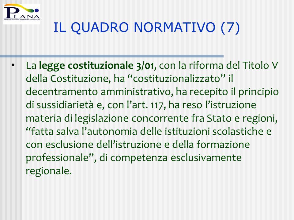 """La legge costituzionale 3/01, con la riforma del Titolo V della Costituzione, ha """"costituzionalizzato"""" il decentramento amministrativo, ha recepito il"""