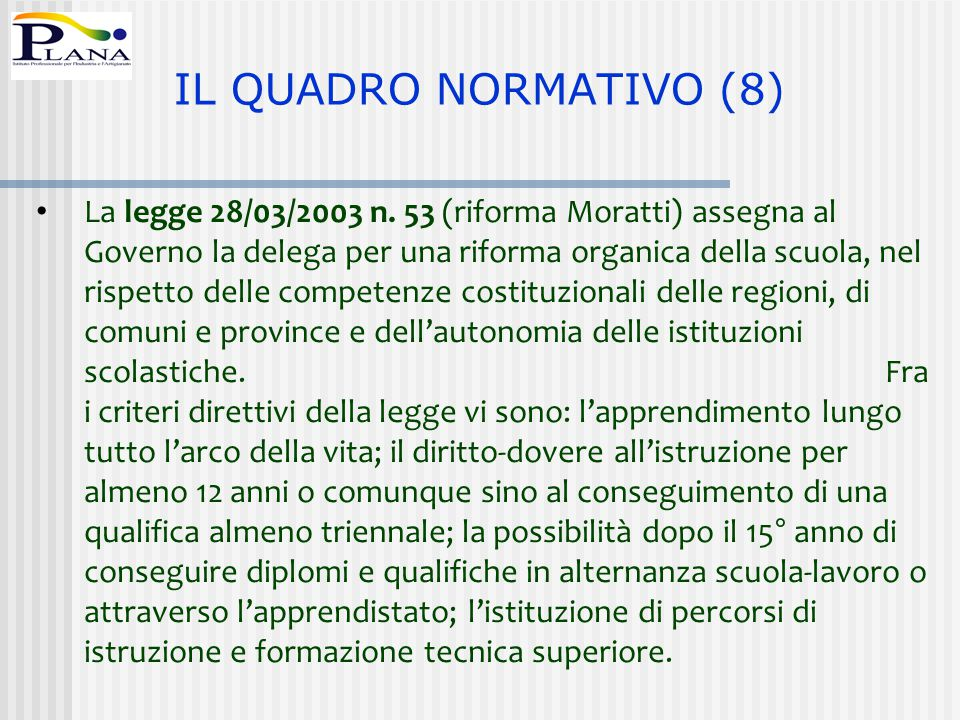 La legge 28/03/2003 n. 53 (riforma Moratti) assegna al Governo la delega per una riforma organica della scuola, nel rispetto delle competenze costituz