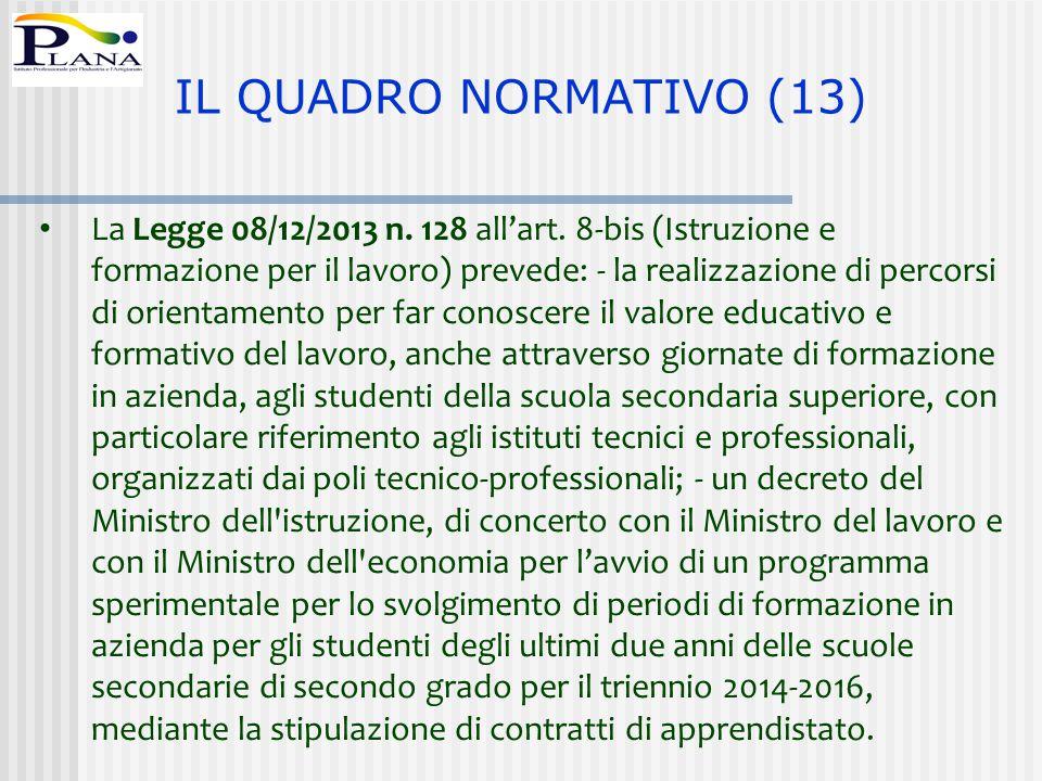La Legge 08/12/2013 n. 128 all'art. 8-bis (Istruzione e formazione per il lavoro) prevede: - la realizzazione di percorsi di orientamento per far cono