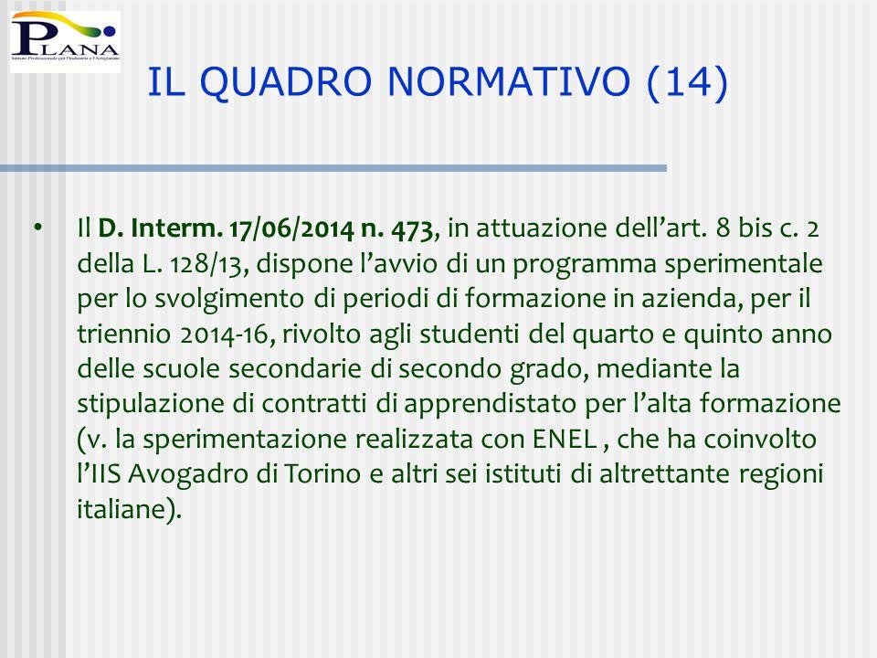 Il D. Interm. 17/06/2014 n. 473, in attuazione dell'art. 8 bis c. 2 della L. 128/13, dispone l'avvio di un programma sperimentale per lo svolgimento d