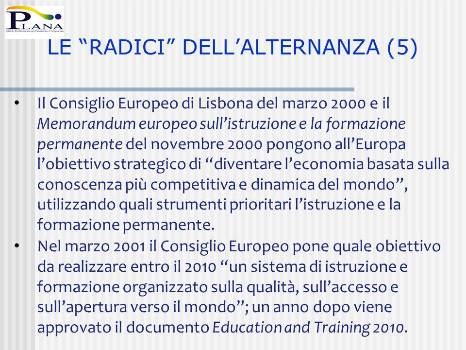 Il Consiglio Europeo di Lisbona del marzo 2000 e il Memorandum europeo sull'istruzione e la formazione permanente del novembre 2000 pongono all'Europa