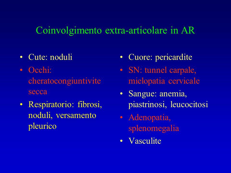 Coinvolgimento extra-articolare in AR Cute: noduli Occhi: cheratocongiuntivite secca Respiratorio: fibrosi, noduli, versamento pleurico Cuore: pericar