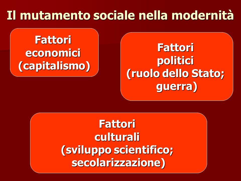 Il mutamento sociale nella modernità Fattorieconomici(capitalismo) Fattoripolitici (ruolo dello Stato; guerra) Fattoriculturali (sviluppo scientifico;