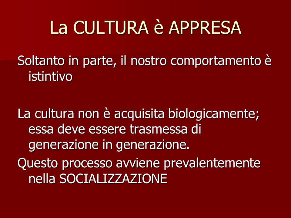 La CULTURA è APPRESA Soltanto in parte, il nostro comportamento è istintivo La cultura non è acquisita biologicamente; essa deve essere trasmessa di g