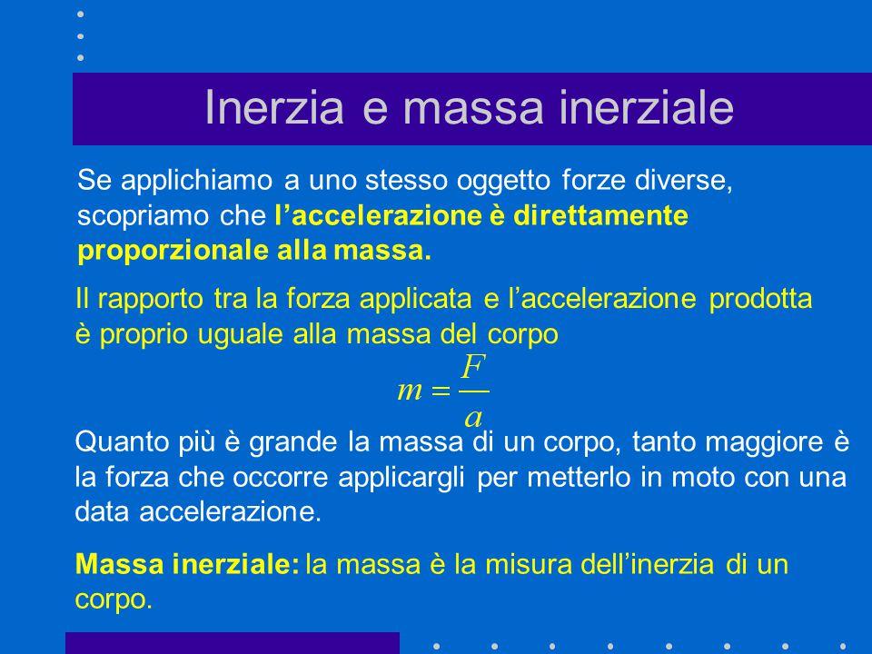 Inerzia e massa inerziale Se applichiamo a uno stesso oggetto forze diverse, scopriamo che l'accelerazione è direttamente proporzionale alla massa. Qu