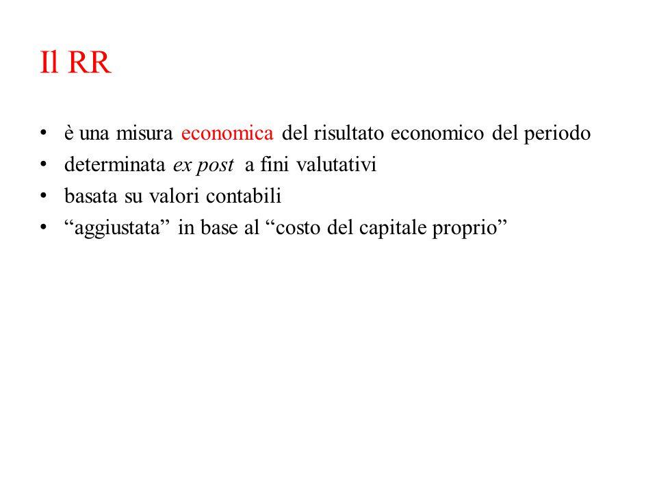 """Il RR è una misura economica del risultato economico del periodo determinata ex post a fini valutativi basata su valori contabili """"aggiustata"""" in base"""