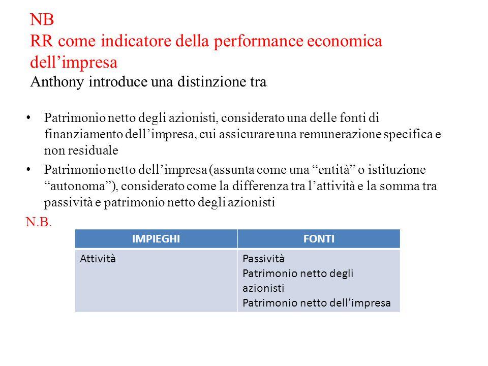 NB RR come indicatore della performance economica dell'impresa Anthony introduce una distinzione tra Patrimonio netto degli azionisti, considerato una