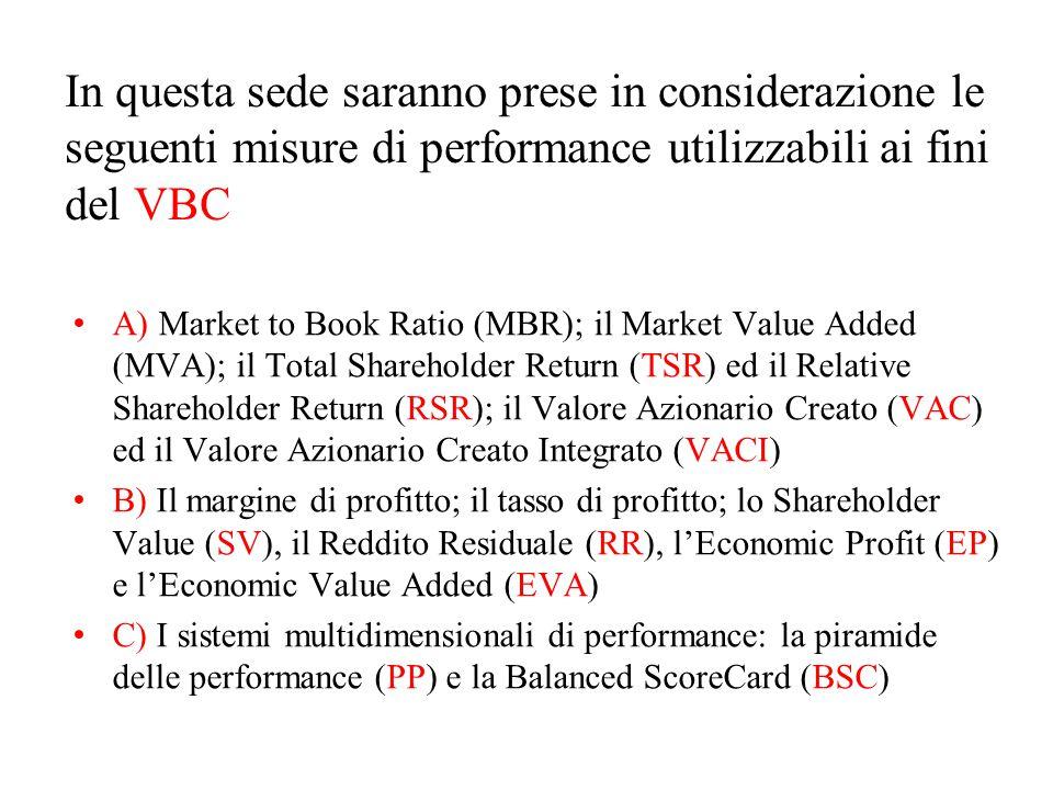 In questa sede saranno prese in considerazione le seguenti misure di performance utilizzabili ai fini del VBC A) Market to Book Ratio (MBR); il Market